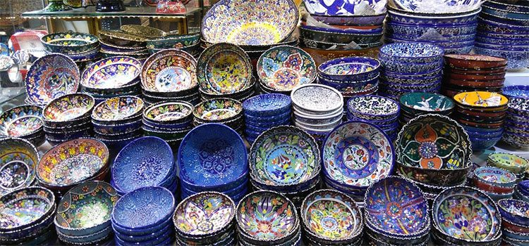 Colorful Bowls and Plates in Turkish Bazaar