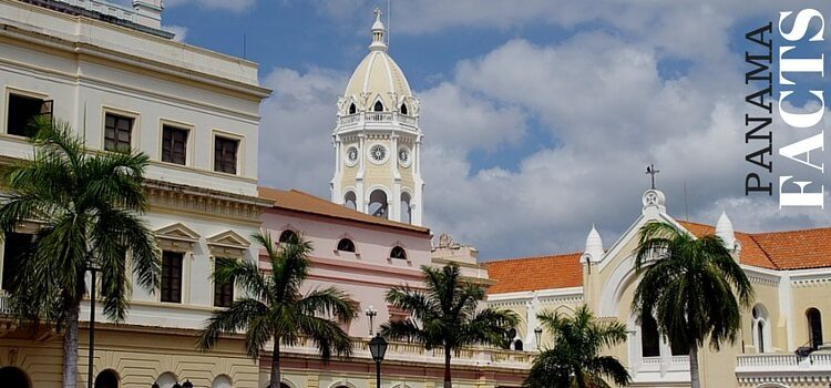 """A view of the old town in Panama with text in the corner saying, """"Panama Facts"""""""
