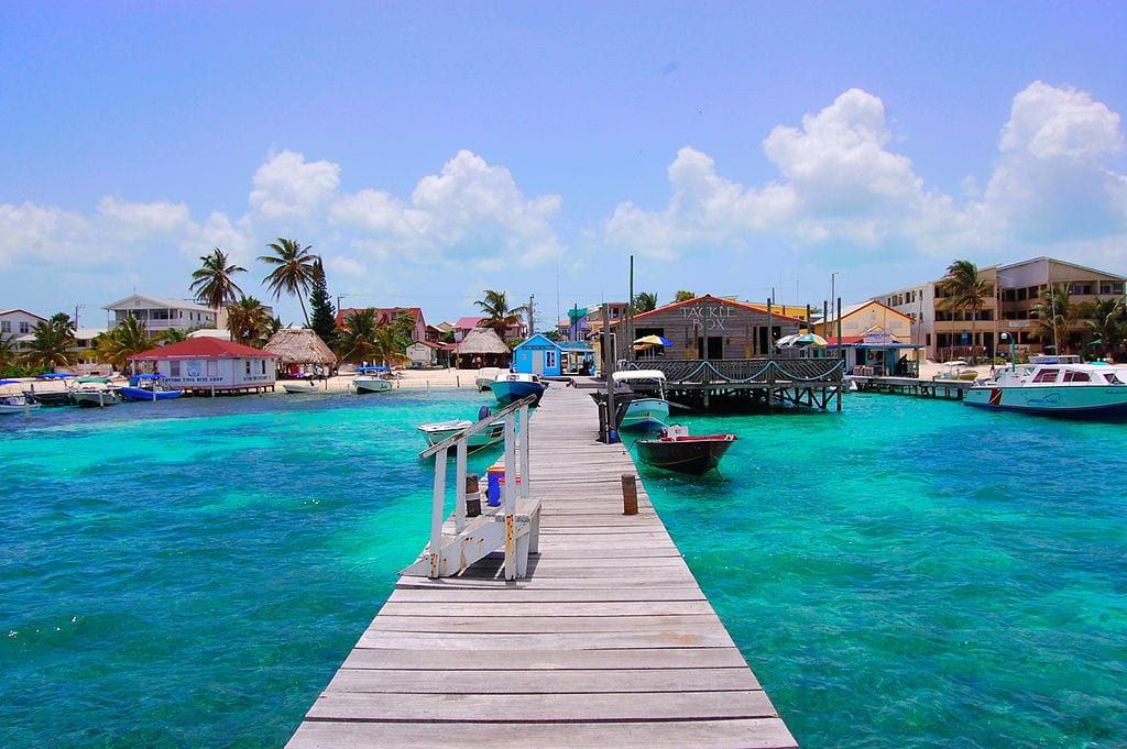 View of ocean and dock in Ambergris Caye, Belize
