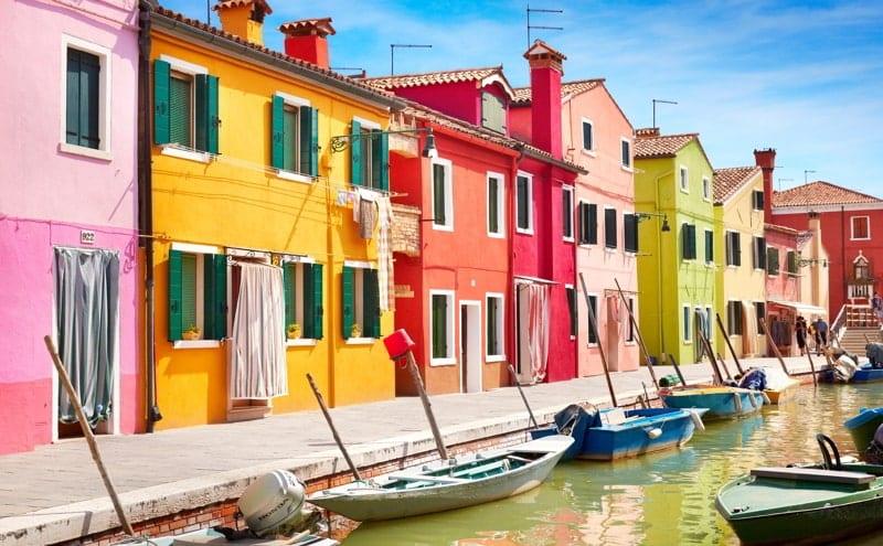 Colourful houses - Burano Island near Venice, Italy.
