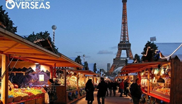 The Eve of Christmas in Paris France at the Eiffel Tower