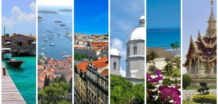 Retirement locations with beautiful ocean views, bright blue skies, green vegetation, and old world architecture.