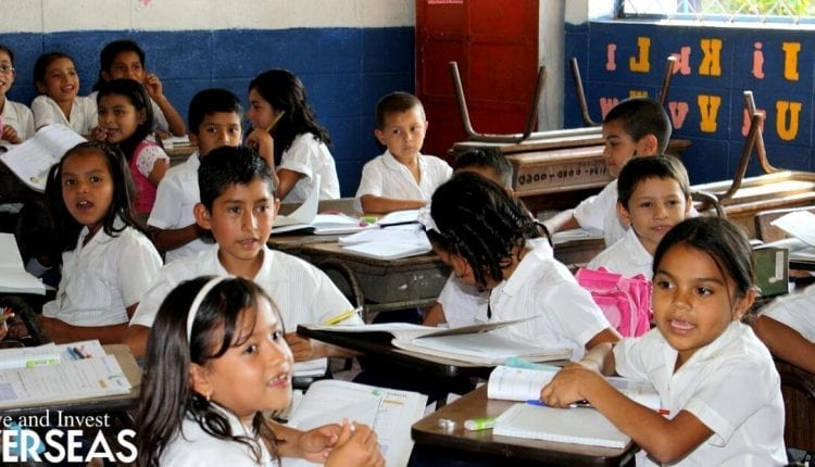 school classroom of children in Panama