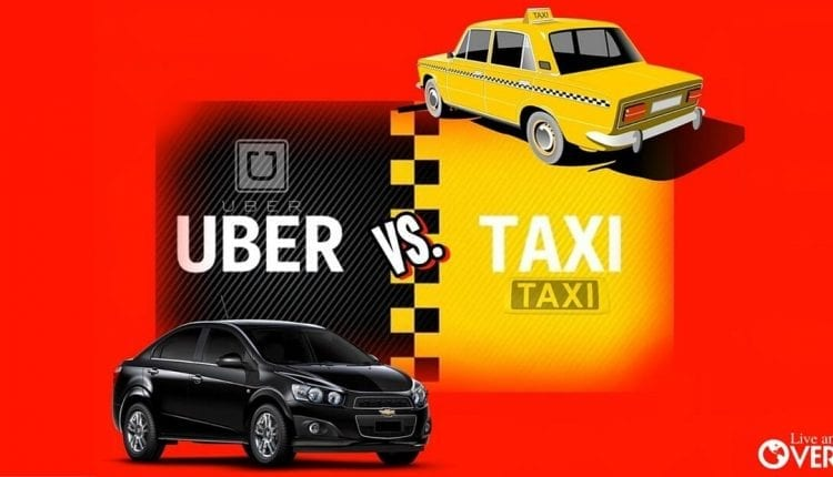 Uber and taxi car