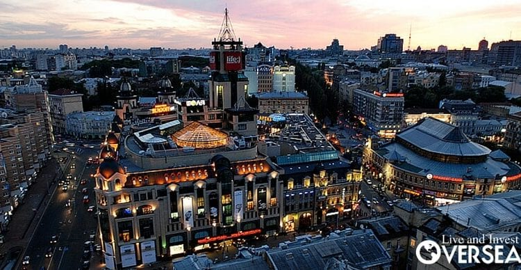 Downtown Kiev, Ukraine, has all the old world charm, at a bargain cost due to the political situation.