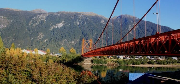 A bridge crossing over a river shows a great example of the well-maintained Chile infrastructure found throughout the country.