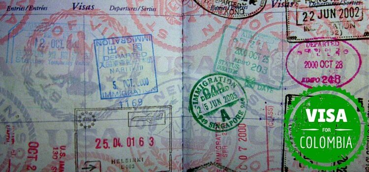 A passport with a Colombia visa stamp