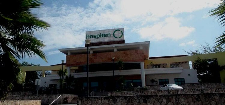 A hospital in Mexico with a blue sky behind it.