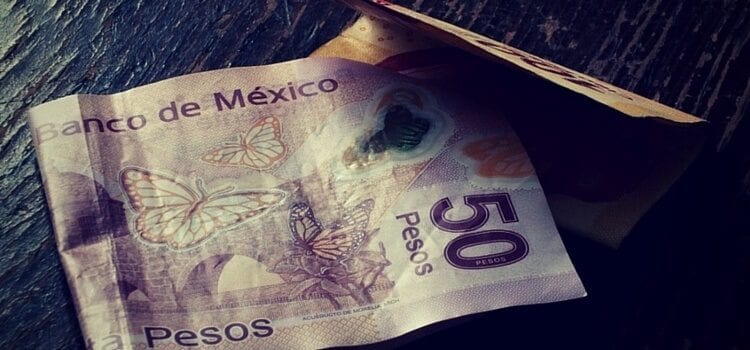 50 Mexican pesos for paying taxes sitting on a table