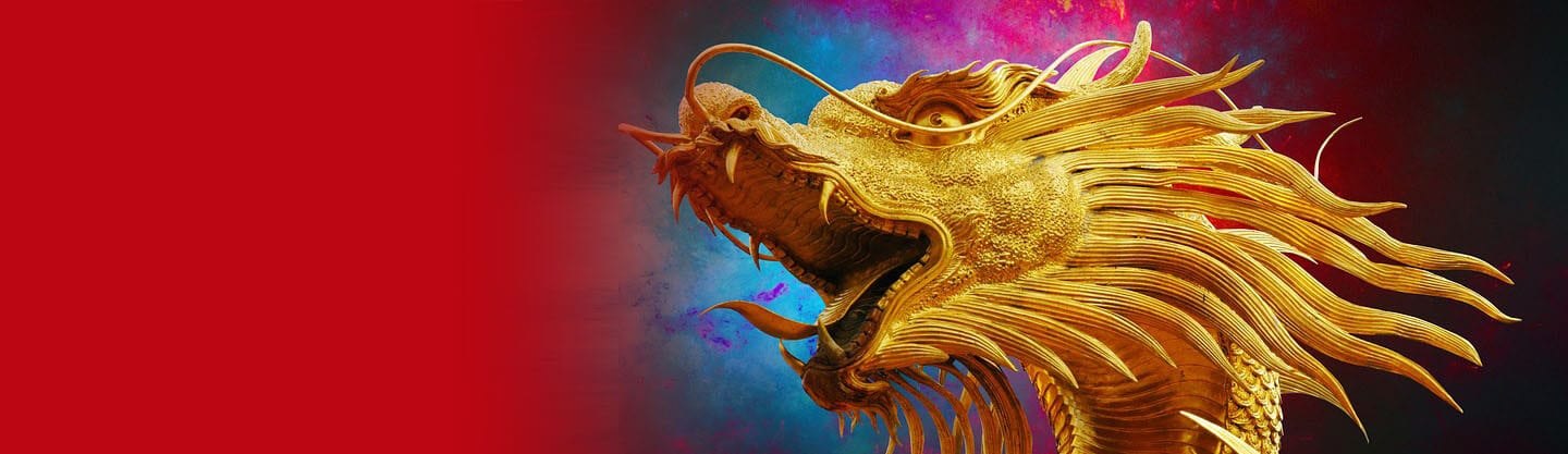 golden chinese dragon against a colorful background