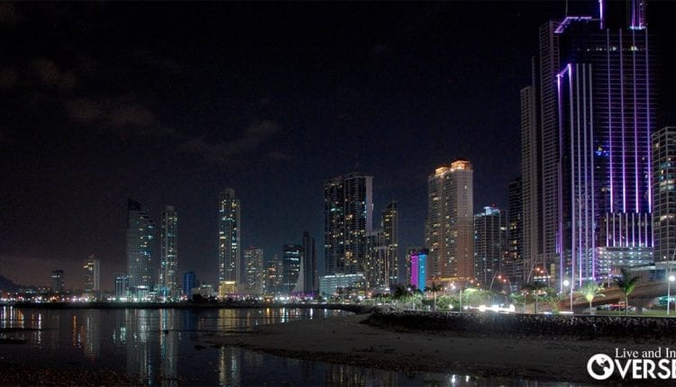Skyline view of Panama City, Panama at night