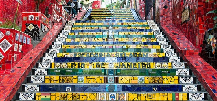Colorful yellow, green, and blue steps in Rio de Janeiro, Brazil