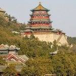A hillside with two temples in China