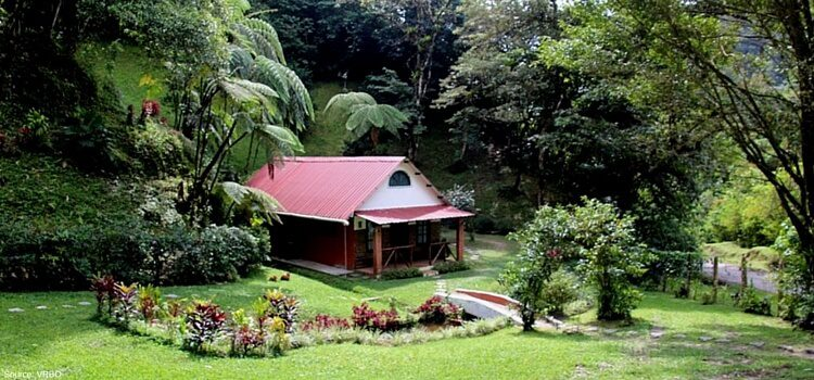 The beautiful hills of El Valle, Panama with a nice little cabin nestled away in the foliage