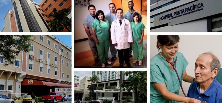 A collage of doctors and hospitals showing the different options for health care in Panama