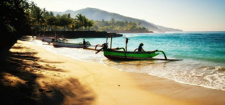 Colorful boats along the beach of Indonesia