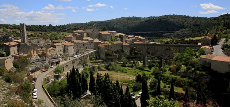 A view over the city of Minerve in Languedoc, France on a blue-sky day