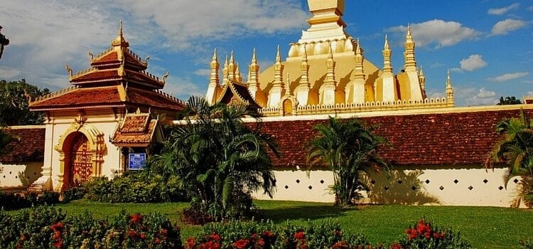 A golden roof temple in Laos