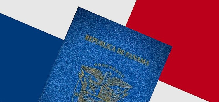 An image of a Panama passport with the Panama flag in the background