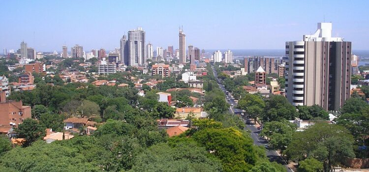 A view of Asuncion, Paraguay with plush green trees and a sprawling city in the background