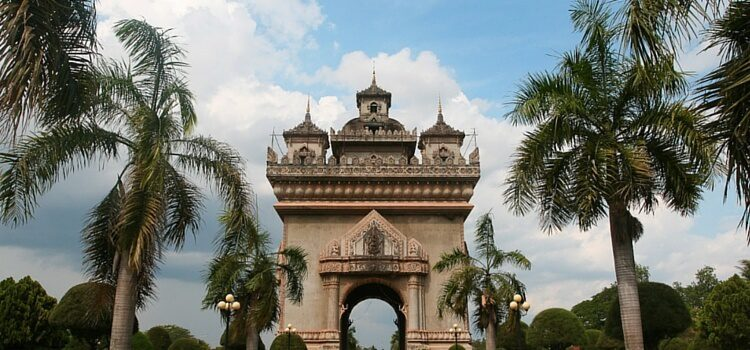 View of a monument in Vientiane, Laos