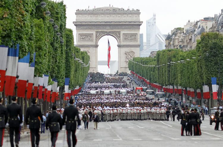 Soldiers march in the bastille day parade