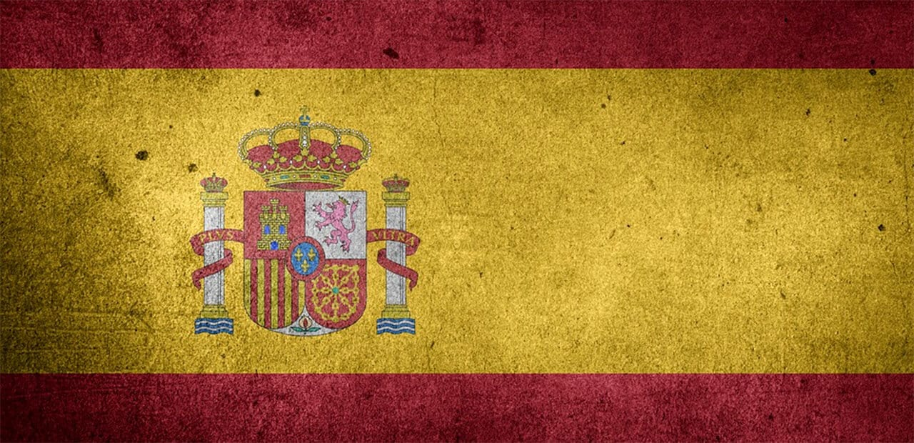 an antiqued painting of the spain flag