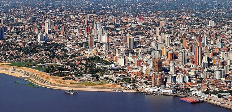 aerial view of the large city of asuncion paraguay