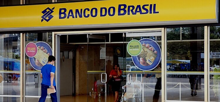 Customers walking into a bank in Brazil