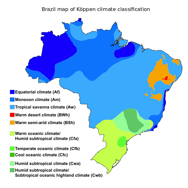 Map depicting the climate regions in Brazil.