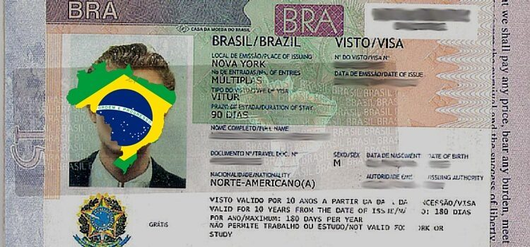 A Brazil visa sticker on the inside of a US passport.