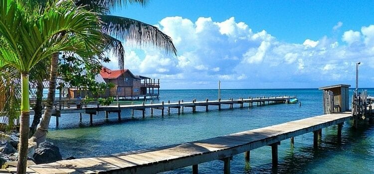 A view from a dock looking out onto the water in Honduras.
