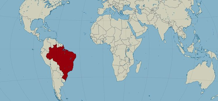 World map of Brazil with the country highlighted in red.