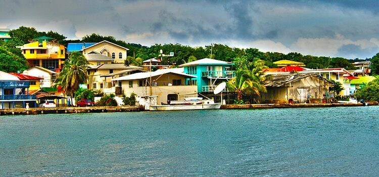 The brightly colored homes along the coast of Roatan, Honduras.