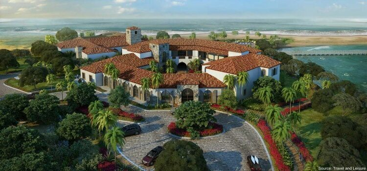 aerial view of a Luxury property along the coast of Nicaragua.
