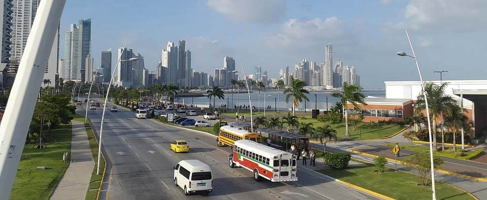 Panama city skyine and cinta costera main street by the ocean