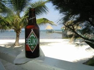 Belkin beer at the beach in Belize