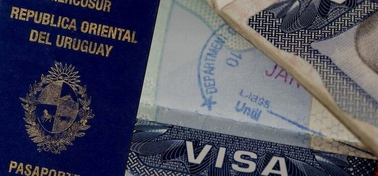 A split image with a Uruguayan passport on the left and a visa stamp on the right.