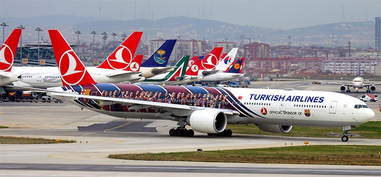 Turkish Airlines airplanes at Ataturk Airport