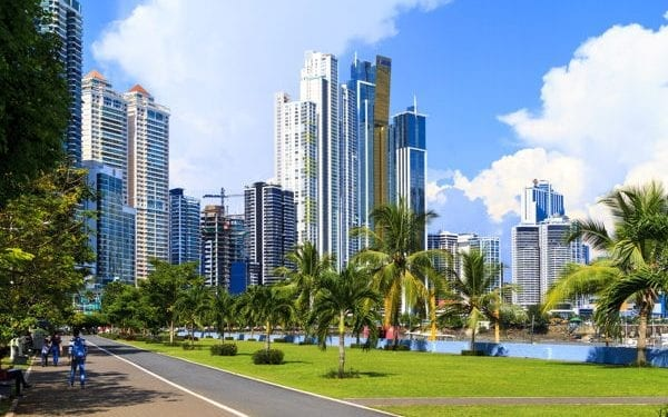 View of high rise buildings and cinta costera, Panama City