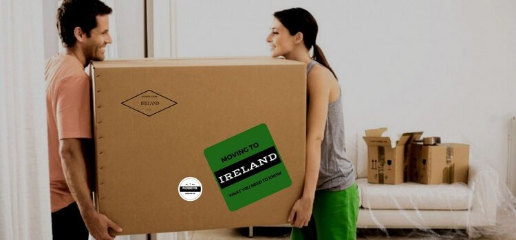 A couple carrying a box labeled with stamps for Ireland.