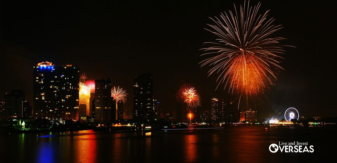 fireworks light up the night sky in bangkok thailand
