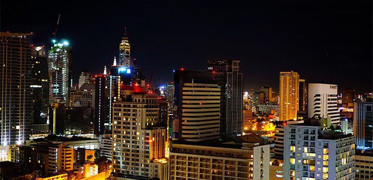 night view of buildings in Bangkok Thailand, economy in Thailand