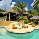beautiful pool and lounge chairs and palm trees at a tropical resort