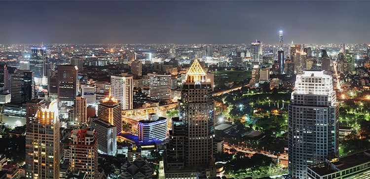 night view of the buildings in Bangkok