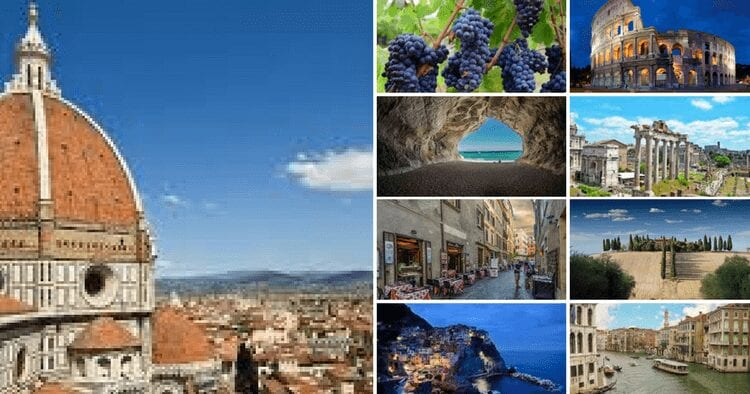 A collage of images from across Italy, from grapes to coliseums.