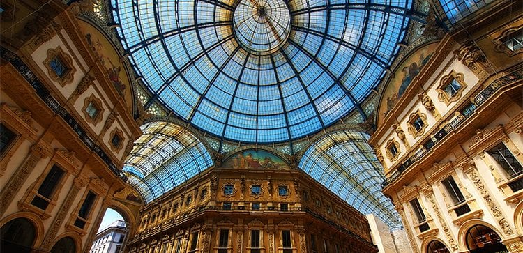 Inside of a glass domed building in Italy
