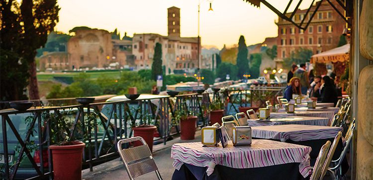diners enjoying an outdoor cafe in Tuscany Italy