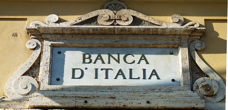 close up of the stone sign og the Bank of Italy