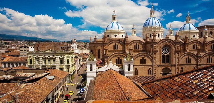 A view of the city rooftops in Cuenca, Ecuador.